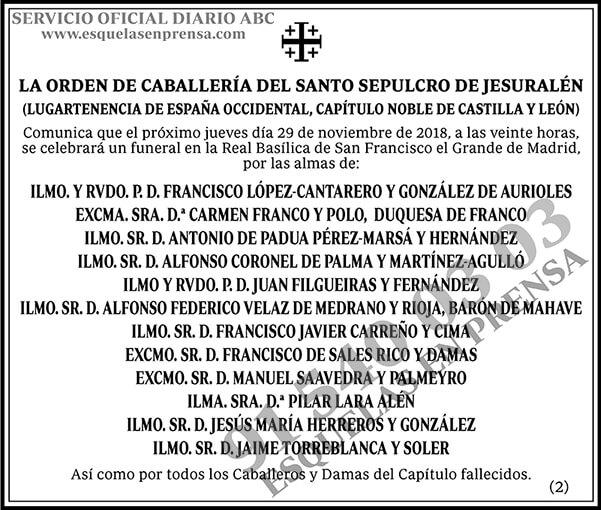 La Orden de Caballería del Santo Sepulcro de Jerusalén